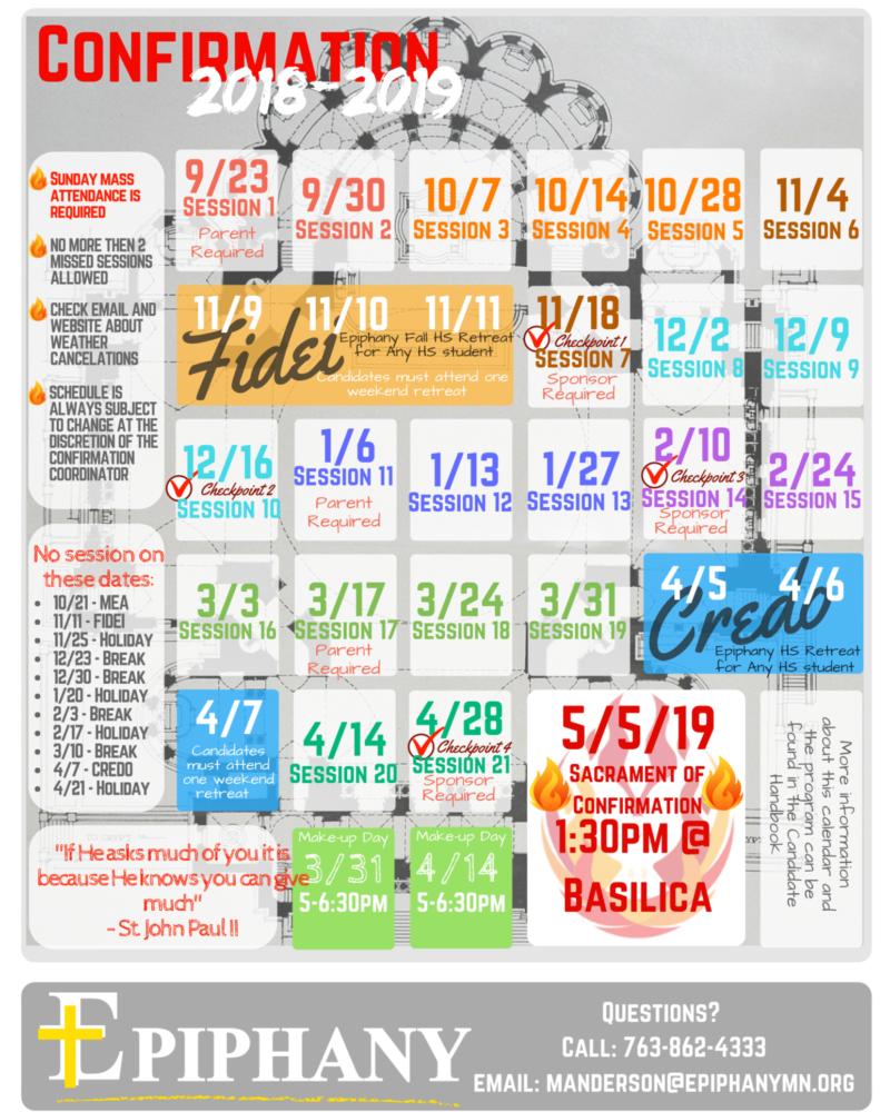 Confirmation 2018-2019 Calendar
